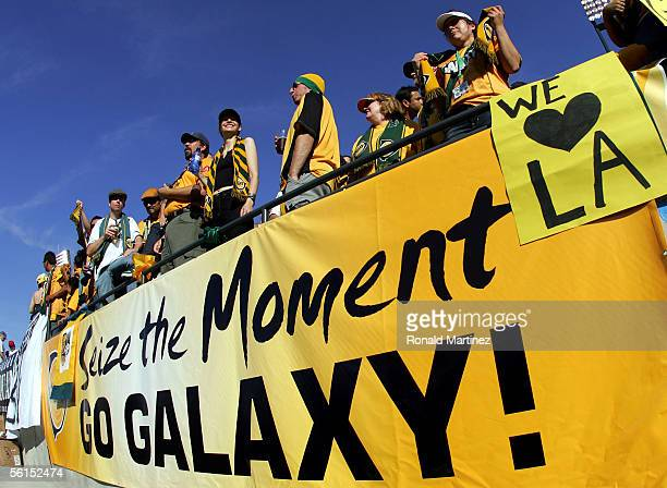 Fans of the Los Angeles Galaxy attend MLS Cup 2005 against the New England Revolution prior to the first half at Pizza Hut Park on November 13 2005...