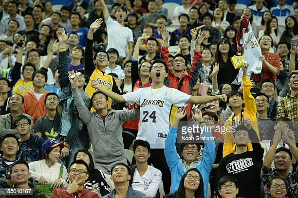 Fans of the Los Angeles Lakers cheers during Fan Appreciation Day as part of the 2013 Global Games on October 17 2013 at the Oriental Sports Center...