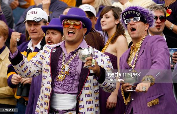 Fans of the LSU Tigers cheer during a game against the Mississippi Rebels at VaughtHemingway Stadium at Hollingsworth Field November 17 2007 in...