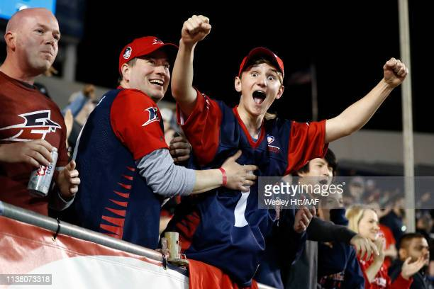 Fans of the Memphis Express celebrate as they take on the the Birmingham Iron during the fourth quarter of their Alliance of American Football game...