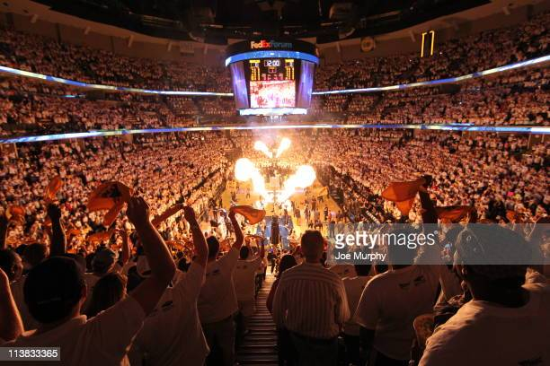 Fans of the Memphis Grizzlies cheer before the start against the Oklahoma City Thunder in Game Three of the Western Conference Semifinals in the 2011...