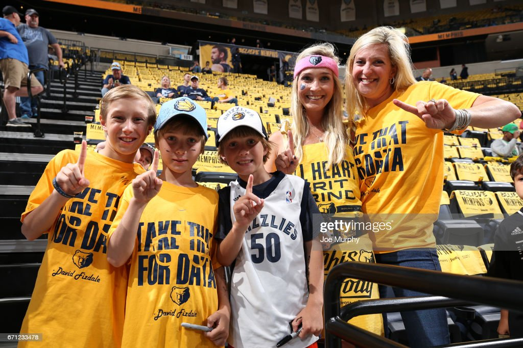 Fans of the Memphis Grizzlies poses for a photo before the game against the San Antonio Spurs during Game Three of the Western Conference Quarterfinals of the 2017 NBA Playoffs on April 20, 2017 at FedExForum in Memphis, Tennessee.