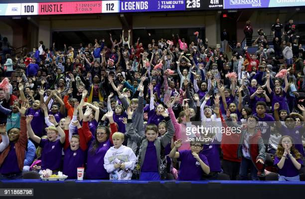 Fans of the Memphis Hustle cheer during the game against the Texas Legends during an NBA GLeague game on January 29 2018 at Landers Center in...