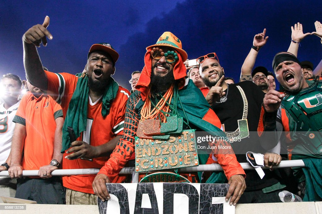 Fans of the Miami Hurricanes celebrates in the stands after the game against the Florida State Seminoles at Doak Campbell Stadium on Bobby Bowden Field on October 7, 2017 in Tallahassee, Florida. Miami defeated Florida State 24 to 20.