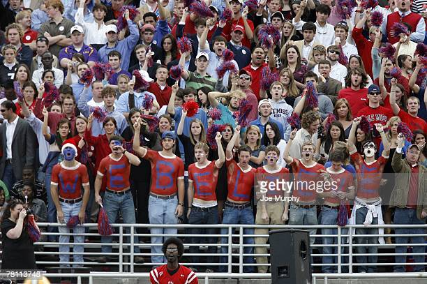 Fans of the Mississippi Rebels cheer in a game against the LSU Tigers on November 17 2007 at VaughtHemingway Stadium/Hollingsworth Field in Oxford...