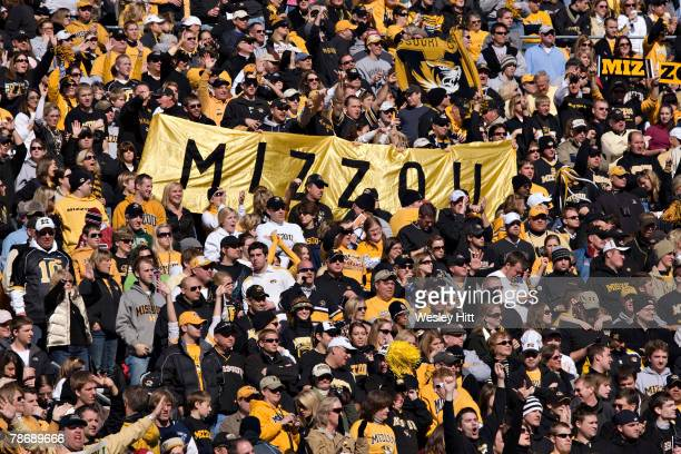 Fans of the Missouri Tigers enjoy the game against the Arkansas Razorbacks at The Cotton Bowl on January 1, 2008 in Dallas, Texas. The Tigers...