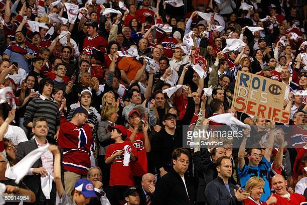 Fans of the Montreal Canadiens show their support during game seven of the 2008 NHL Eastern Conference Quarterfinals between the Boston Bruins and...