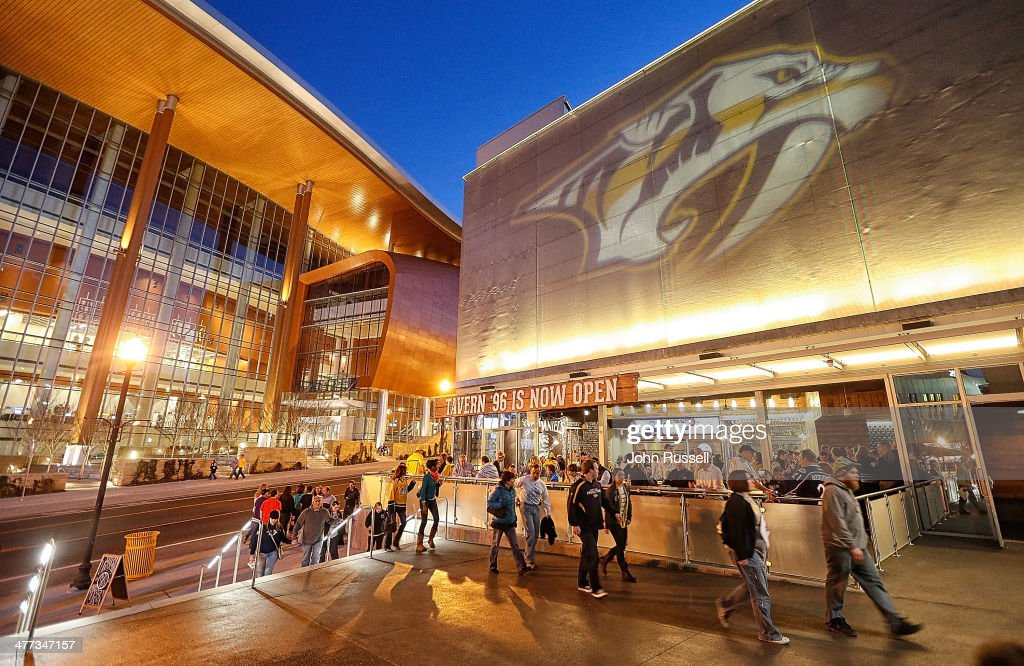 Fans of the Nashville Predators arrive at the new Nissan So Bro Entrance prior to a game against the Columbus Blue Jackets at Bridgestone Arena on March 8, 2014 in Nashville, Tennessee.