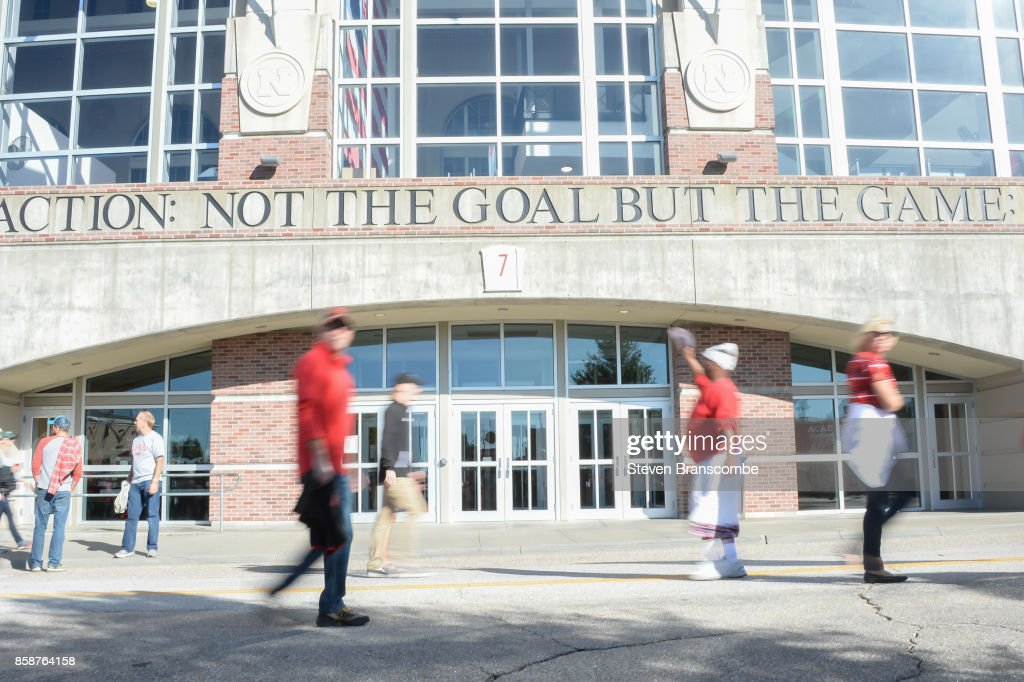 Fans of the Nebraska Cornhuskers in front of the stadium before the game against the Wisconsin Badgers at Memorial Stadium on October 7, 2017 in Lincoln, Nebraska.