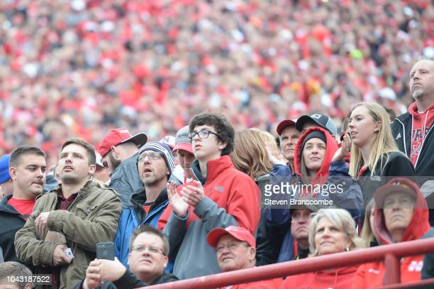 Fans of the Nebraska Cornhuskers reacts to early game action against the Purdue Boilermakers at Memorial Stadium on September 29 2018 in Lincoln...
