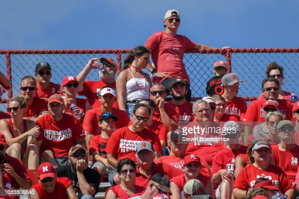 Fans of the Nebraska Cornhuskers watch late game action against the Troy Trojans at Memorial Stadium on September 15 2018 in Lincoln Nebraska