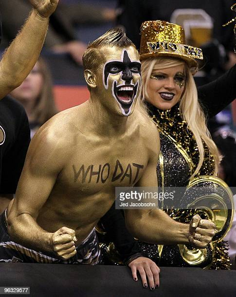 Fans of the New Orleans Saints support the saints against the Minnesota Vikings during the NFC Championship Game at the Louisiana Superdome on...