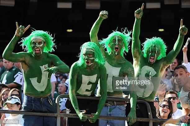 Fans of The New York Jets cheer during their game against the Cincinnati Bengals on October 12 2008 at Giants Stadium in East Rutherford New Jersey