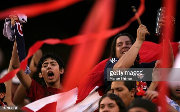 Fans of the New York Red Bulls cheer before a game against the New England Revolution at Giants Stadium in the Meadowlands on April 19, 2008 in East...