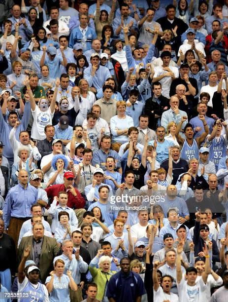 Fans of the North Carolina Tar Heels cheer during their regional semi-final game against the Villanova Wildcats on March 25, 2005 at the Carrier Dome...