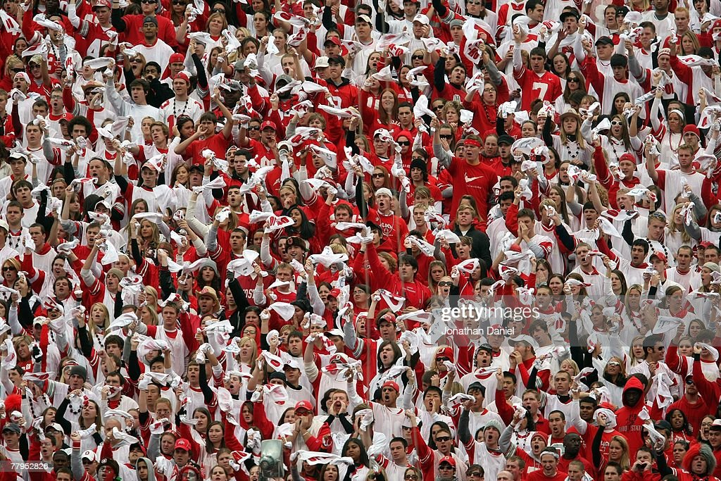 Fans of the Ohio State Buckeyes cheer in the stands during the game against the Wisconsin Badgers on November 3, 2007 at Ohio Stadium in Columbus, Ohio. Ohio State defeated Wisconsin 38-17.