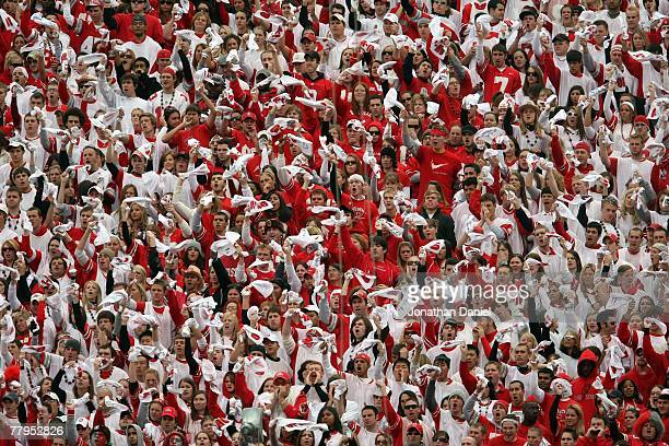 Fans of the Ohio State Buckeyes cheer in the stands during the game against the Wisconsin Badgers on November 3, 2007 at Ohio Stadium in Columbus,...