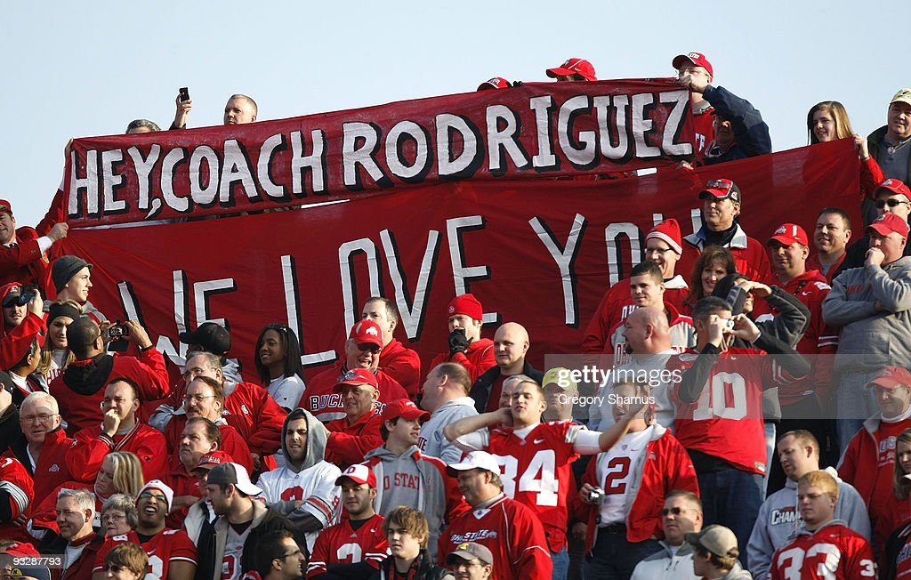 Fans of the Ohio State Buckeyes hold up a sign in support of head coach Rich Rodriguez of the Michigan Wolverines on November 21, 2009 at Michigan Stadium in Ann Arbor, Michigan. Ohio State won the game 21-10.