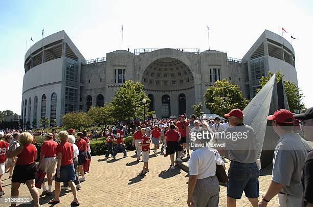 Fans of the Ohio State University Buckeyes enter Ohio Stadium for the game against the Marshall University Thundering Herd on September 11, 2004 in...