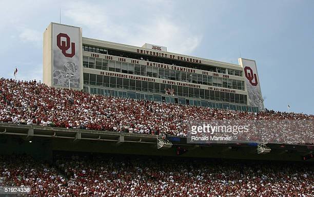 Fans of the Oklahoma Sooners football team watch them face the University of Oregon Ducks on September 18 2004 at Memorial Stadium in Norman Oklahoma...