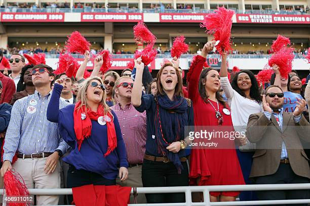 Fans of the Ole Miss Rebels cheer against the Alabama Crimson Tide on October 4 2014 at VaughtHemingway Stadium in Oxford Mississippi Mississippi...