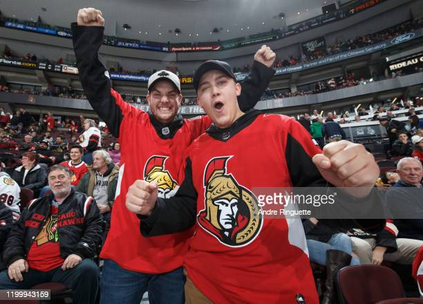 Fans of the Ottawa Senators cheer during a game against the Chicago Blackhawks at Canadian Tire Centre on January 14, 2020 in Ottawa, Ontario, Canada.