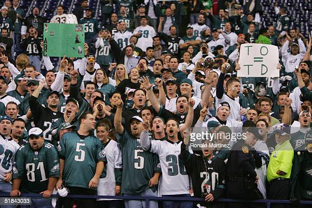 Fans of the Philadelphia Eagles celebrate the Eagles' victory over the Dallas Cowboys on November 15 2004 at Texas Stadium in Irving Texas The Eagles...