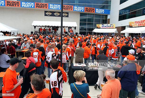 Fans of the Philadelphia Flyers attend Game Three of the Eastern Conference Quarterfinal Round of the 2009 NHL Stanley Cup Playoffs against the...