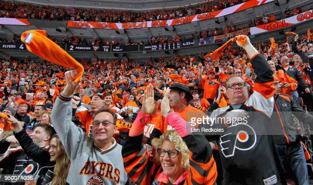 Fans of the Philadelphia Flyers celebrate a second period goal against the Pittsburgh Penguins in Game Six of the Eastern Conference First Round...
