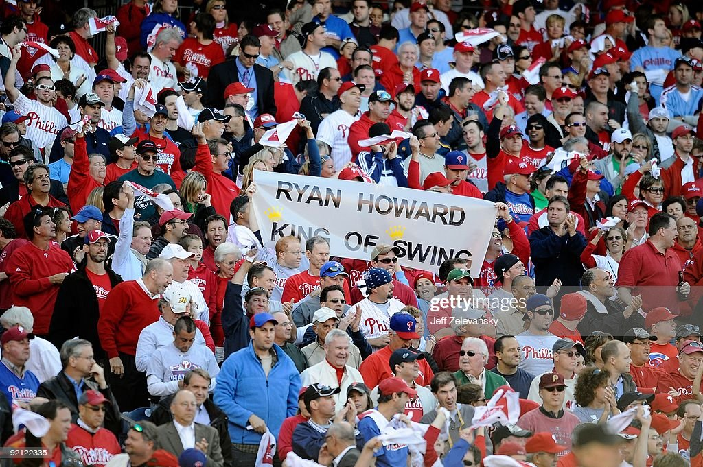 Fans of the Philadelphia Phillies hold up a sign which reads 'Ryan Howard King of Swing' against the Colorado Rockies in Game Two of the NLDS during the 2009 MLB Playoffs at Citizens Bank Park on October 8, 2009 in Philadelphia, Pennsylvania. The Rockies won 5-4.