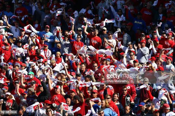 Fans of the Philadelphia Phillies support their team against the Colorado Rockies in Game One of the NLDS during the 2009 MLB Playoffs at Citizens...