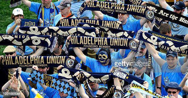 Fans of the Philadelphia Union line up to enter PPL Park before a match against the Seattle Sounders FC at the PPL Park stadium opener on June 27...