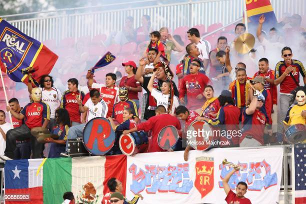 Fans of the Real Salt Lake cheer during the game against the Chicago Fire at Rio Tinto Stadium on September 12, 2009 in Sandy, Utah.