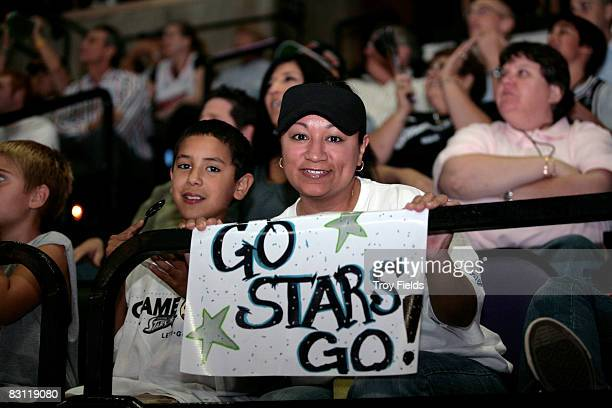 Fans of the San Antonio Silver Stars cheers against the Detroit Shock during Game Two of the WNBA Finals on October 3 2008 at ATT Center in San...