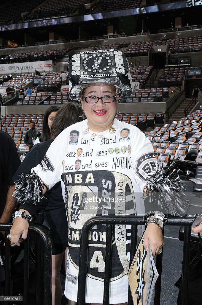 Fans of the San Antonio Spurs gear up for the against the Dallas Mavericks in Game Three of the Western Conference Quarterfinals during the 2010 NBA Playoffs at AT&T Center on April 23, 2010 in San Antonio, Texas.