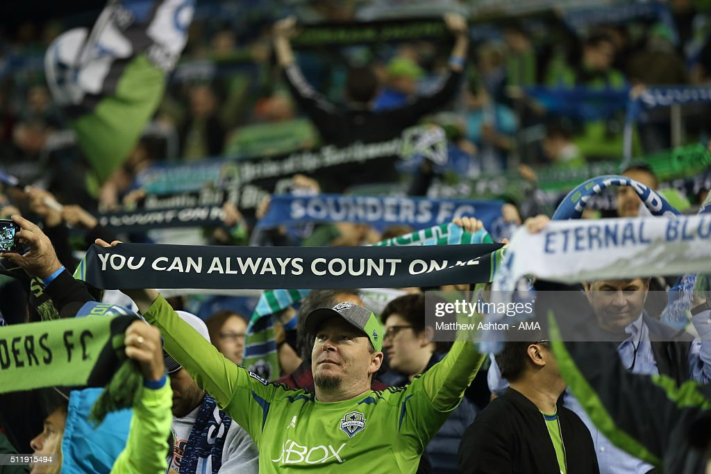 Fans of the Seattle Sounders during the CONCACAF Champions League match between Seattle Sounders and Club America at CenturyLink Field on February 23, 2016 in Seattle, Washington.