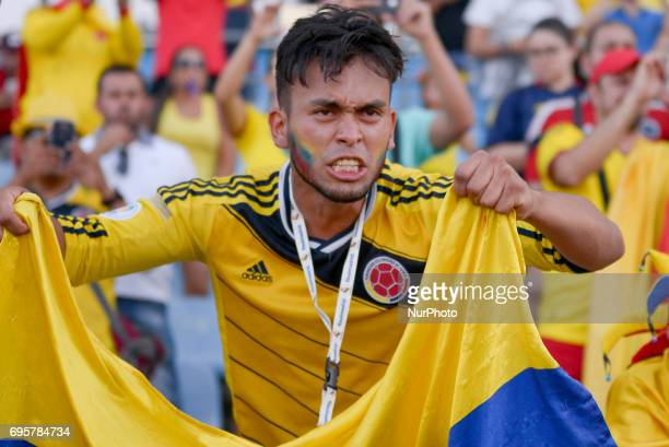 Fans of the selection Colombia before the match before of Cameroon friendly match played at the Coliseum Stadium Alfonso Perez Getafe Tuesday June 13...