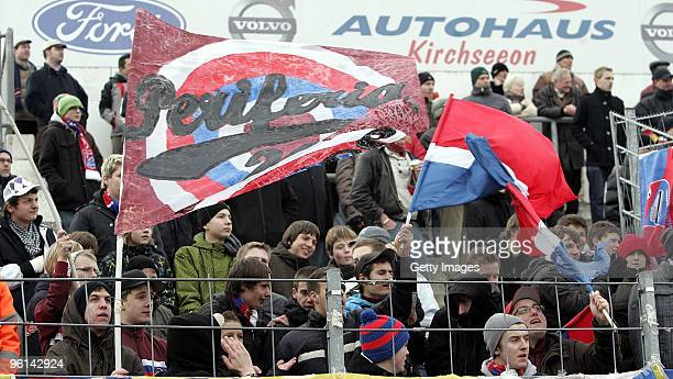 Fans of the SpVgg Unterhaching during the 3Liga match between SpVgg Unterhaching and Bayern Muenchen II at the Generali Sportpark on January 24 2010...