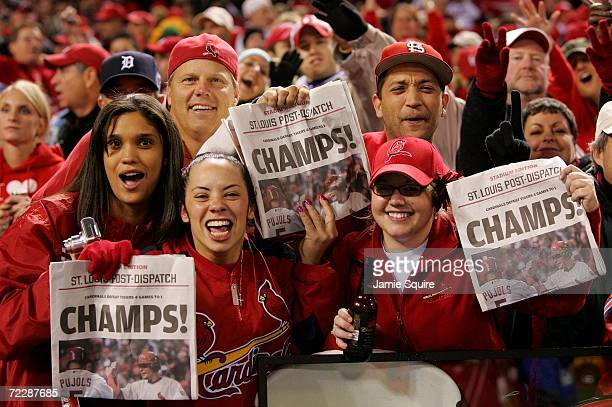 Fans of the St Louis Cardinals celebrates after defeating the Detroit Tigers in Game Five of the 2006 World Series on October 27 2006 at Busch...