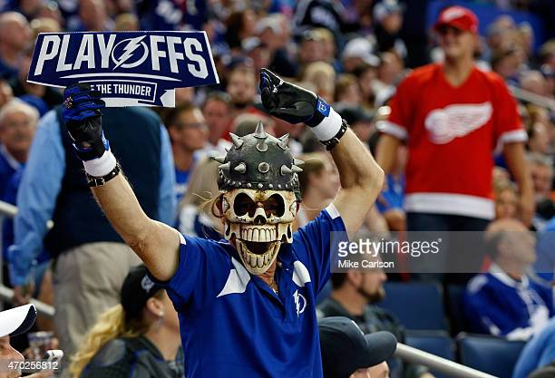 Fans of the Tampa Bay Lightning and Detroit Red Wings during Game Two of the Eastern Conference Quarterfinals during the 2015 NHL Stanley Cup...