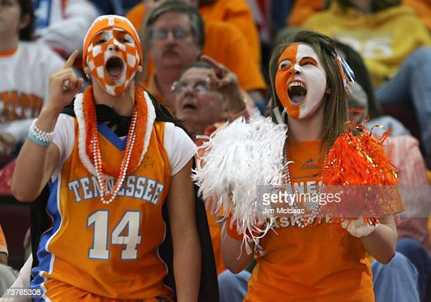 Fans of the Tennessee Lady Volunteers support their tema against the North Carolina Tar Heels during their National Semifinal game of the 2007 NCAA...