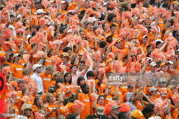 Fans of the Tennessee Volunteers cheer against the Alabama Crimson Tide during their game at Neyland Stadium on October 23, 2004 in Knoxville,...