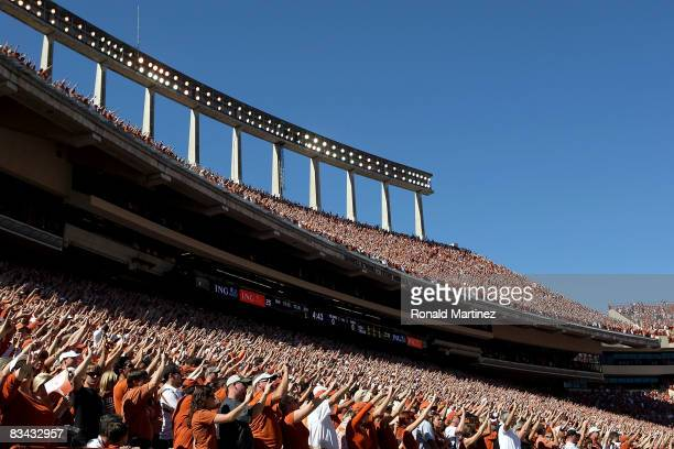Fans of the Texas Longhorns cheer during a game against the Oklahoma State Cowboys at Texas Memorial Stadium on October 25 2008 in Austin Texas