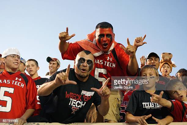 Fans of the Texas Tech Red Raiders cheer in the stands before the game against the Texas Longhorns on November 1, 2008 at Jones Stadium in Lubbock,...