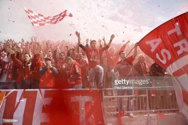 Fans of the Toronto FC cheer on the team during the match against the Chicago Fire at BMO Field in Toronto Ontario Canada on May 12 2007 Toronto won...
