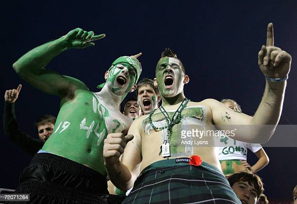 Fans of the Trinity Shamrocks supports his team against the St Xavier Tigers during their regular season High School football game September 22 2006...