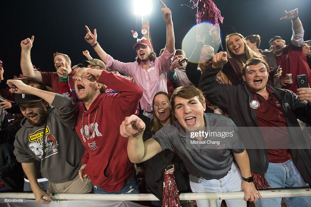 Fans of the Troy Trojans celebrate after defeating the Ohio Bobcats on December 23, 2016 in Mobile, Alabama. The Troy Trojans defeated the Ohio Bobcats 28-23.
