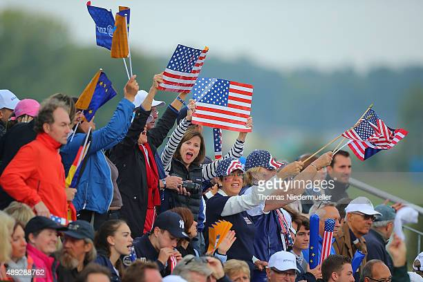 Fans of the United States Team are seen at the first tee during the Sundays single matches in the 2015 Solheim Cup at St LeonRot Golf Club on...