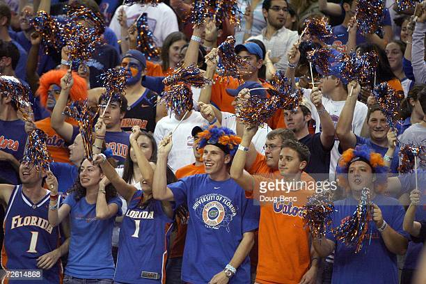 Fans of the University of Florida Gators cheers in the stands during the game against the Samford Bulldogs at the O'Connell Center on November 10,...