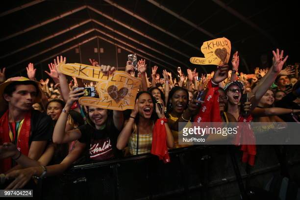 Fans of the US singer Khalid during his concert at the NOS Alive 2018 music festival in Lisbon Portugal on July 12 2018